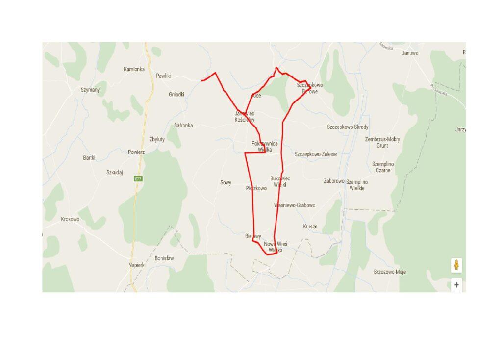 Widok mapy google z zaznaczonym szlakiem pobożańskich Kurhanów