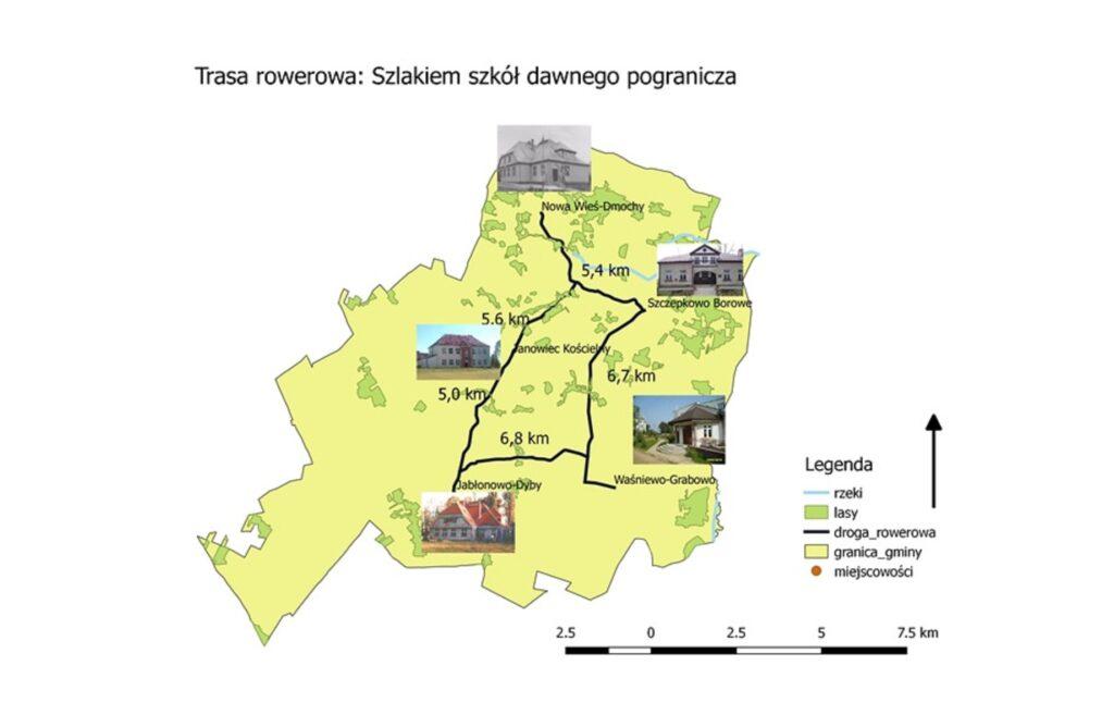 Obrazek z mapą i wyrysowaną trasą rowerową: Szlakiem szkół dawnego pogranicza