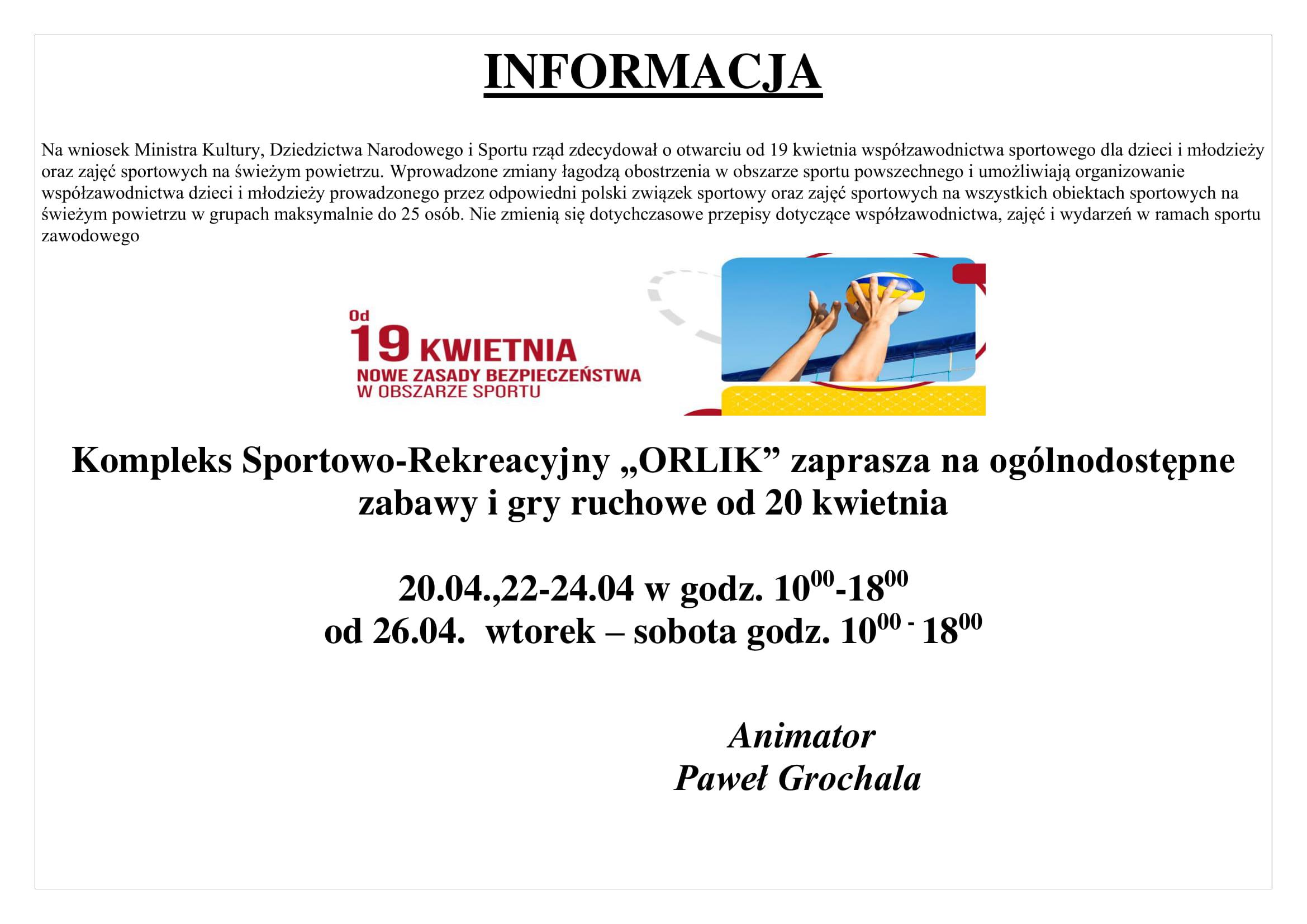 Informacja ORLIK