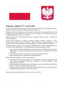 Informacja dot. Programu 75+ na 2021