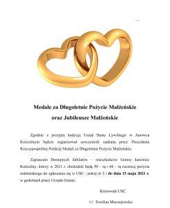 Medale za Długoletnie Pożycie Małżeńskie oraz Jubileusze Małżeńskie