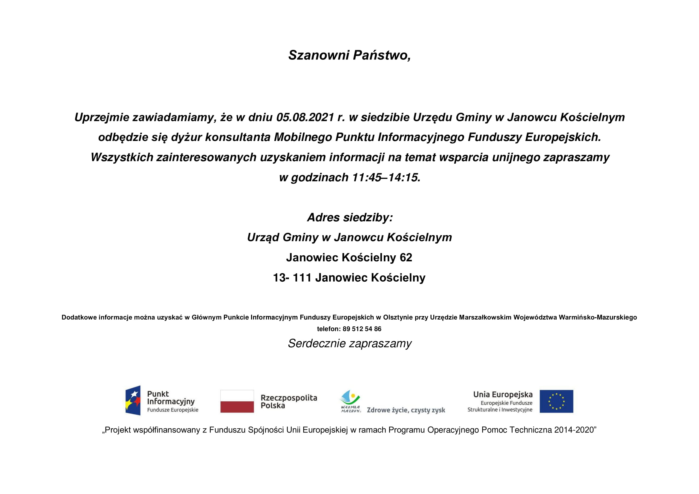 się dyżur konsultanta Mobilnego Punktu Informacyjnego Funduszy Europejskich