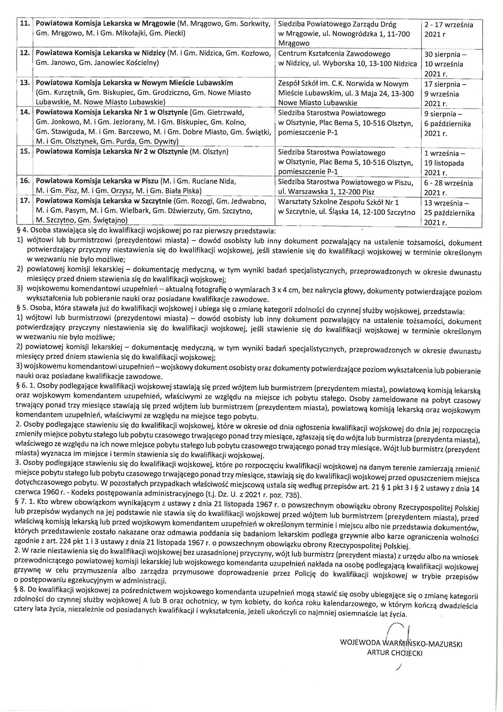 Obwieszczenie Wojewody Warmińsko-Mazurskiego z dnia 12 lipca 2021 r. o przeprowadzeniu kwalifikacji wojskowej w 2021 r.