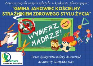 Konkurs plastyczny Gmina Janowiec Kościelny Straznikiem zdrowego stylu życia