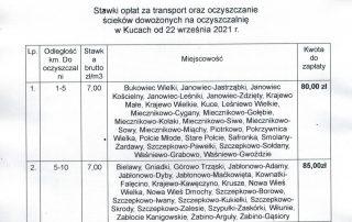 Stawki opłat za transport oraz oczyszczanie ścieków dowozowych na oczyszczalnię w Kucach od 22 września 2021 r.